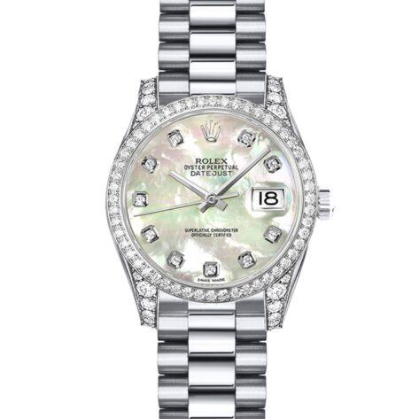 Rolex Datejust 179159 Cadran Blanc Nacre Automatique Pour Femme Serti De Diamants 26mm