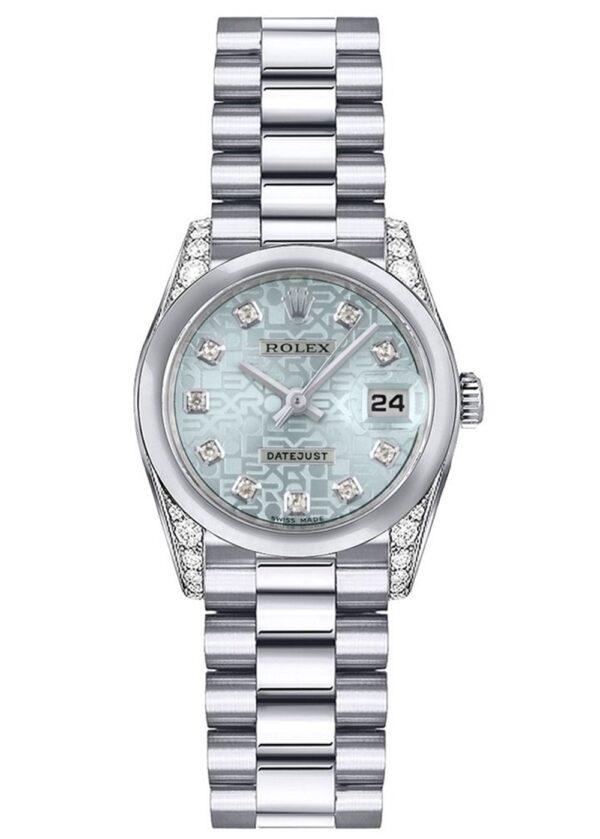 Rolex Datejust 179296 Cadran Bleu Glace Automatique Pour Femme 26mm